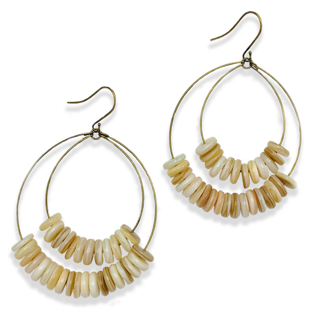 Double Hoop Shell Earrings