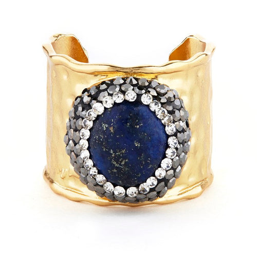 elyssa bass lapis crystal cuff ring monica lavin label