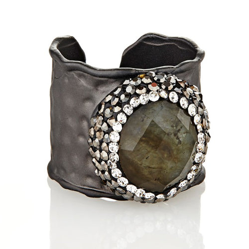 elyssa bass rhodium plated labradorite crystal cuff ring monica lavin label