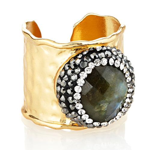 Labrodorite/Crystal Cuff Ring