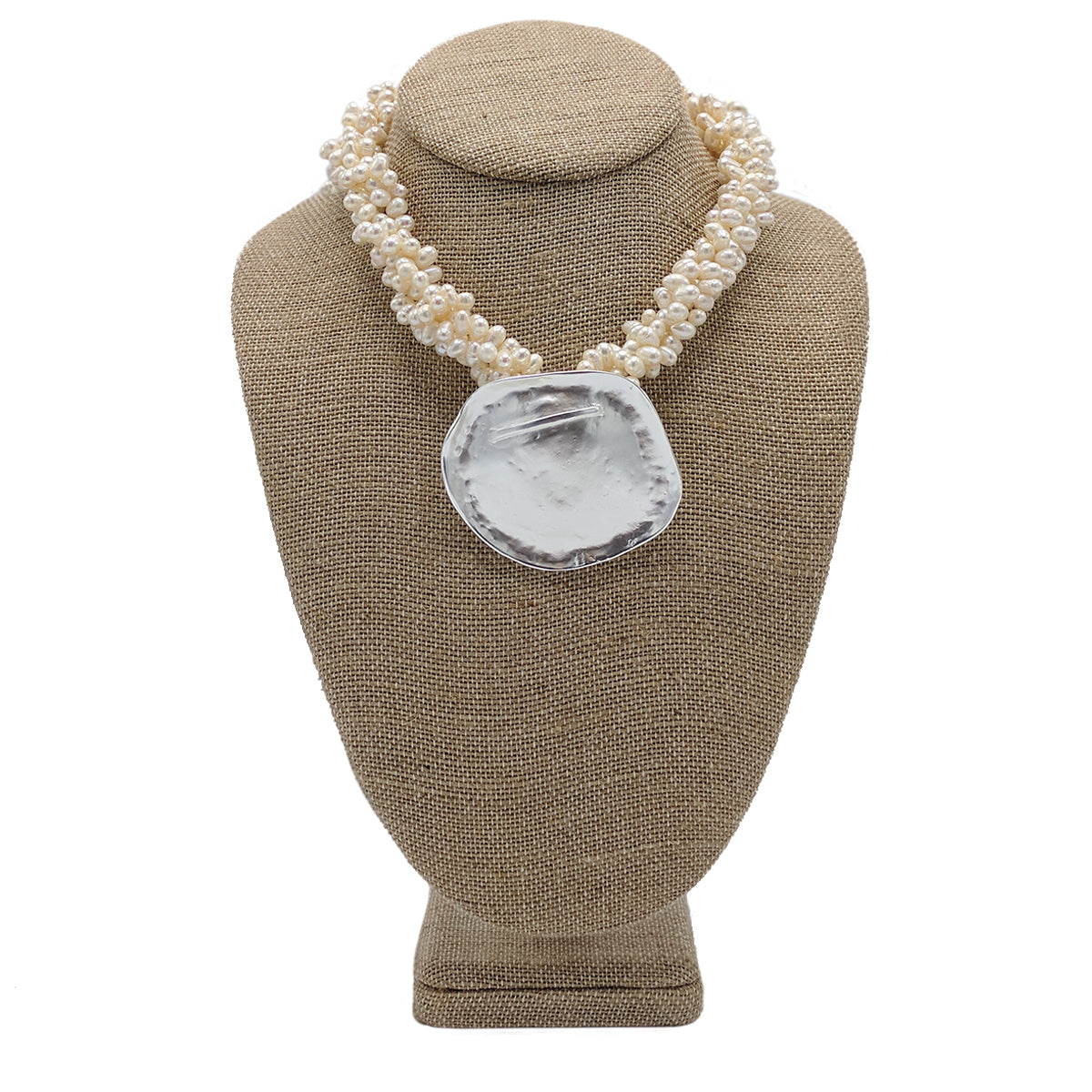Tiny Fresh Water Pearl with Disk Necklace