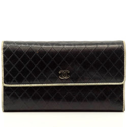 Pre-loved authentic Chanel Black Leather Long Wallet sale at jebwa