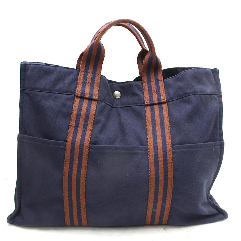 Pre-loved authentic Hermes Tote Bag Navy Blue Canvas sale at jebwa