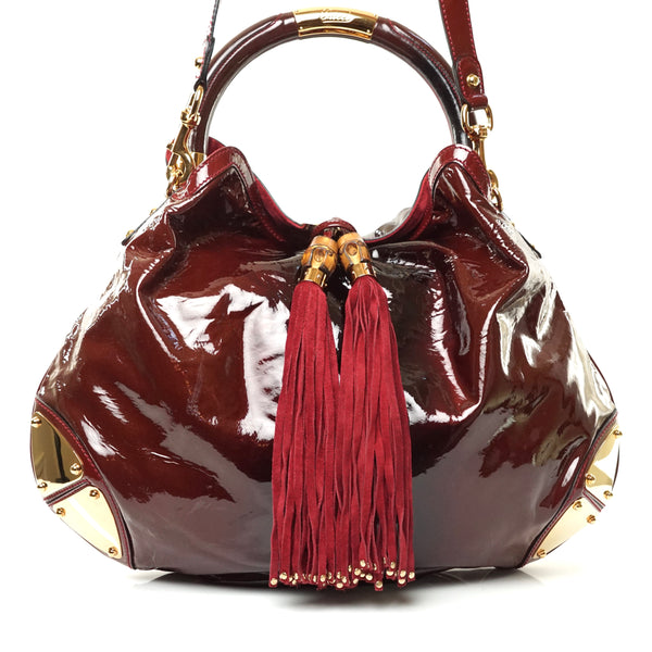 Pre-loved authentic Gucci Burgundy Enamel Bag Crossbody sale at jebwa