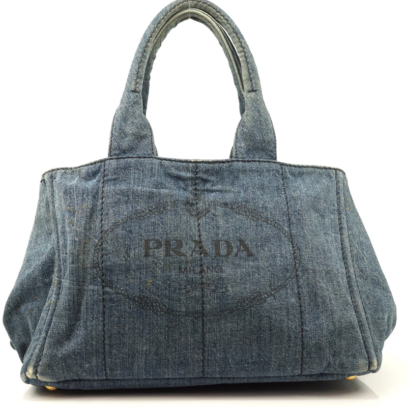 Pre-loved authentic Prada Hand Bag Blue Denim Satchel sale at jebwa