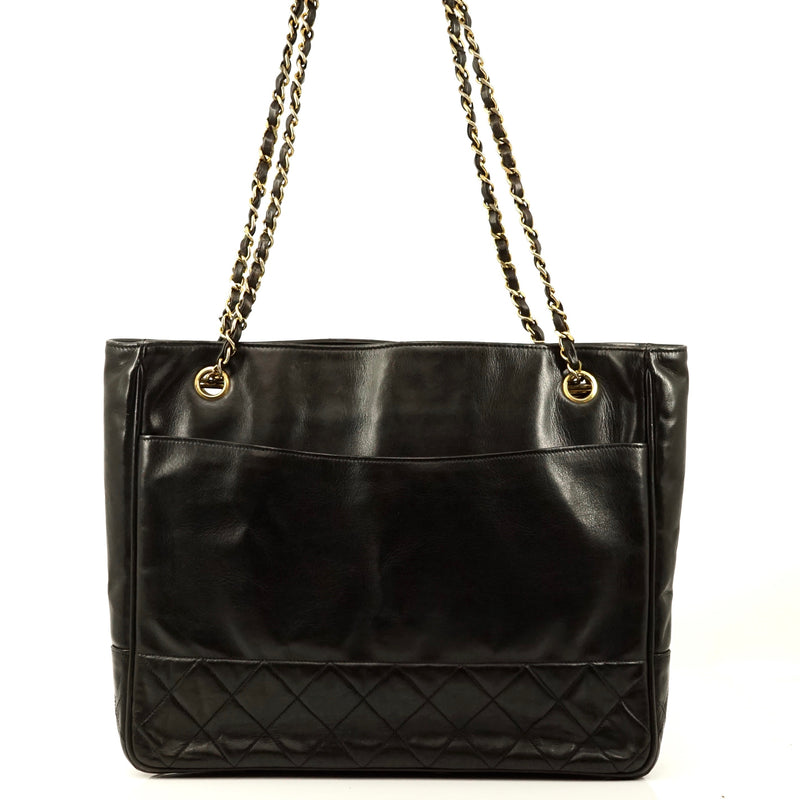 Pre-loved authentic Chanel Quilted Chain Tote Bag Black sale at jebwa