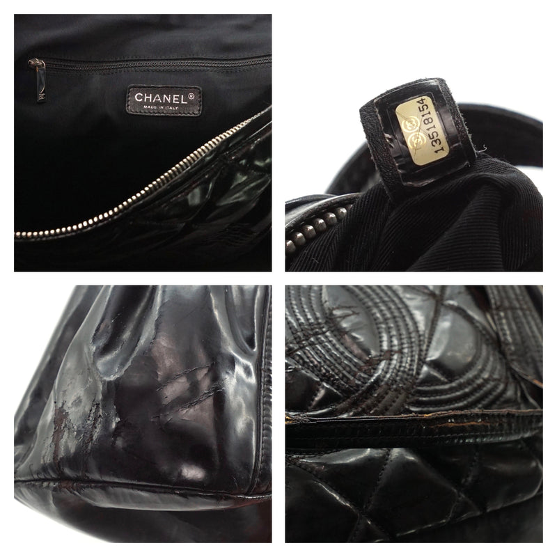 Pre-loved authentic Chanel Quilted Patent Leather Tote sale at jebwa