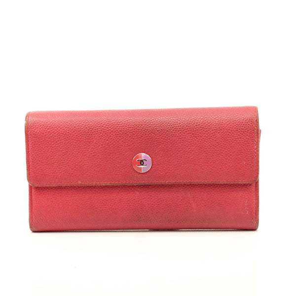 Pre-loved authentic Chanel Long Wallet Pink Leather sale at jebwa