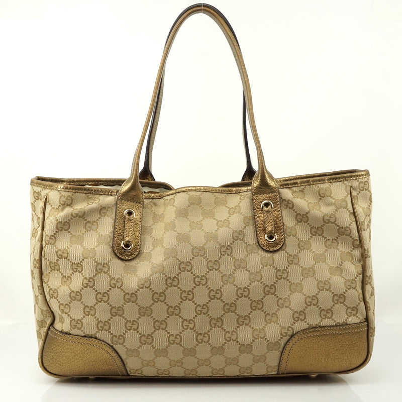 Pre-loved authentic Gucci Gg Hand Bag Canvas Tote Gold sale at jebwa