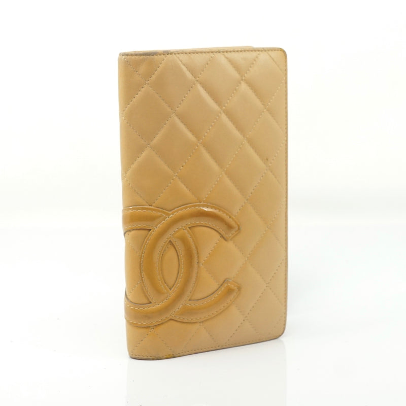 Pre-loved authentic Chanel Long Wallet Beige Lambskin sale at jebwa.