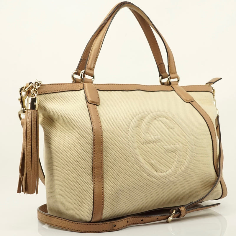 Pre-loved authentic Gucci Soho Tote Bag Cream Canvas sale at jebwa