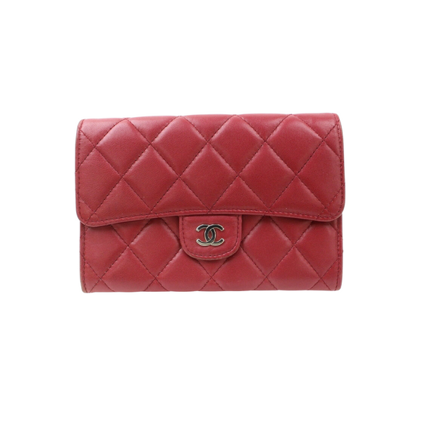 Chanel Matelasse Wallet Red Leather