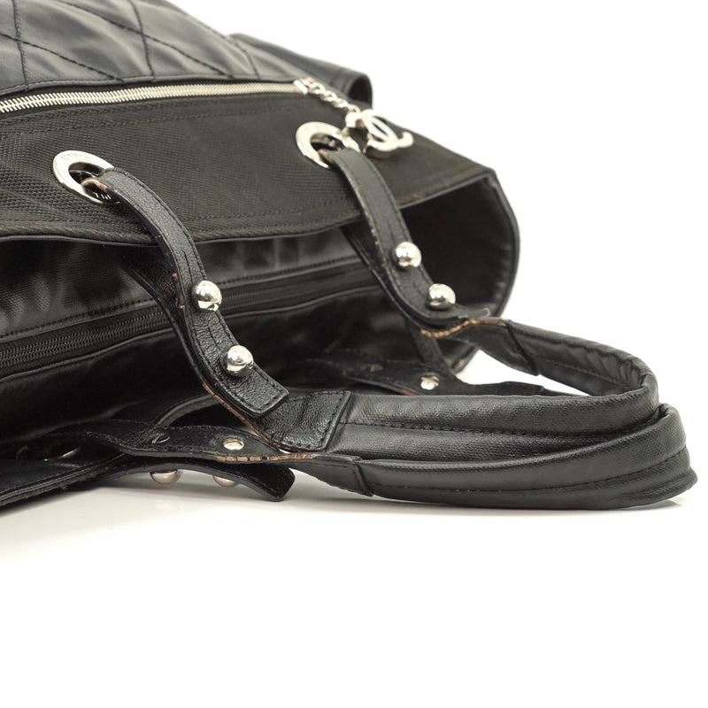 Pre-loved authentic Chanel Paris Biarritz Black Leather sale at jebwa