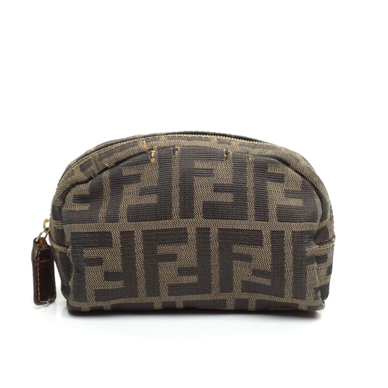 Pre-loved authentic Fendi Cosmetic Bag Brown Zucca sale at jebwa.
