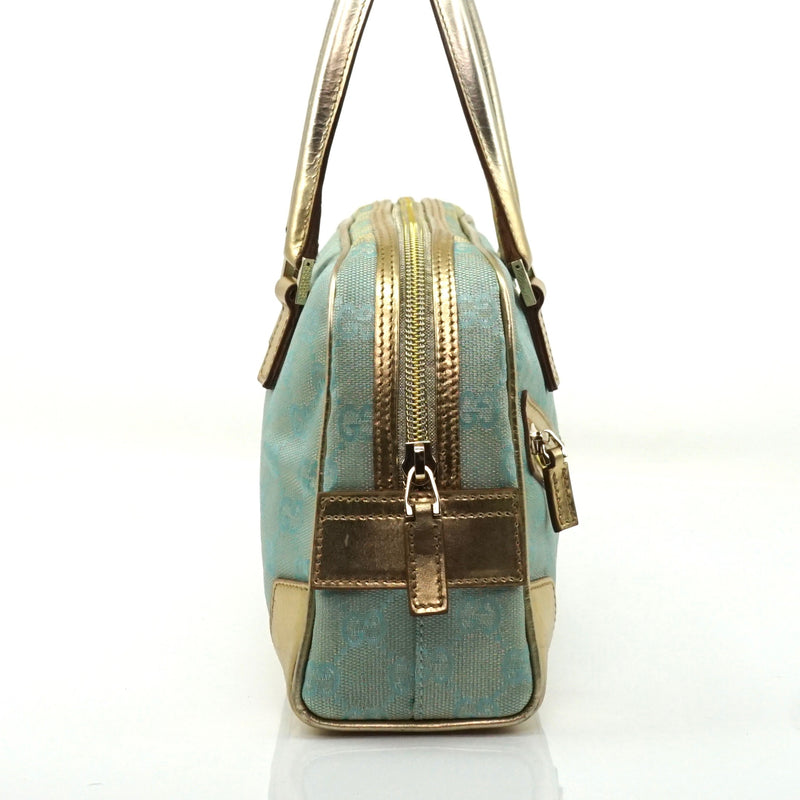 Pre-loved authentic Gucci Light Blue Canvas Hand Bag sale at jebwa