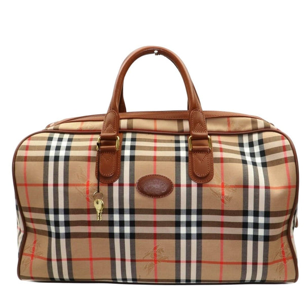 Burberry Boston Bag Brown Canvas