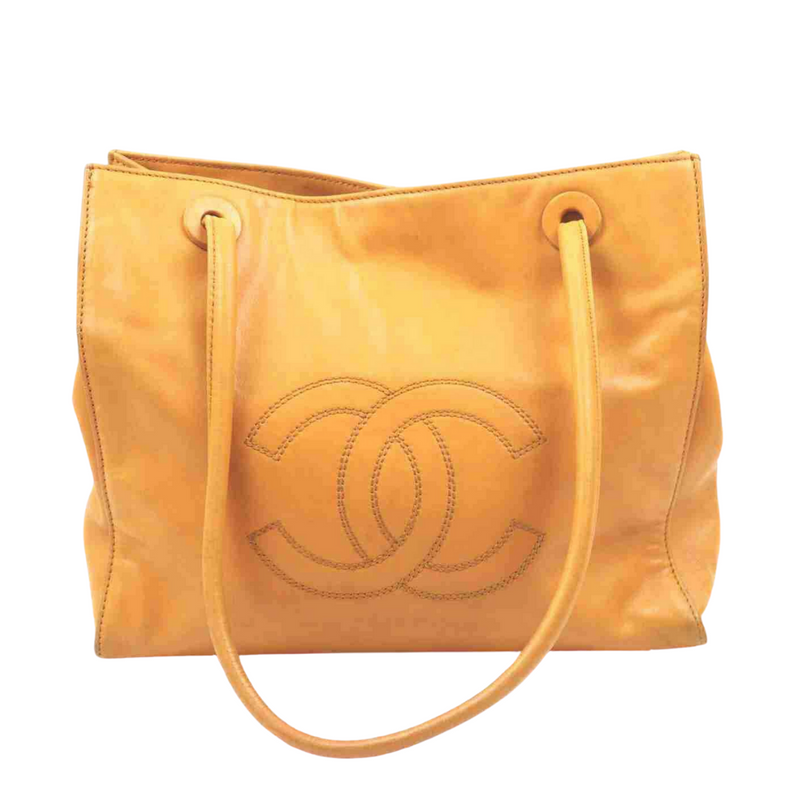 Chanel Tote Bag Orange Lamb Skin