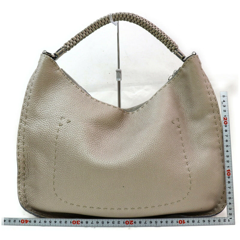 Pre-loved authentic Fendi Selleria Silver Leather sale at jebwa