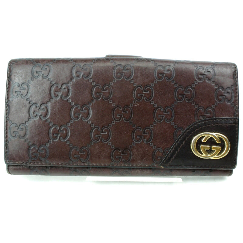 Pre-loved authentic Gucci Long Wallet Dark Brown sale at jebwa
