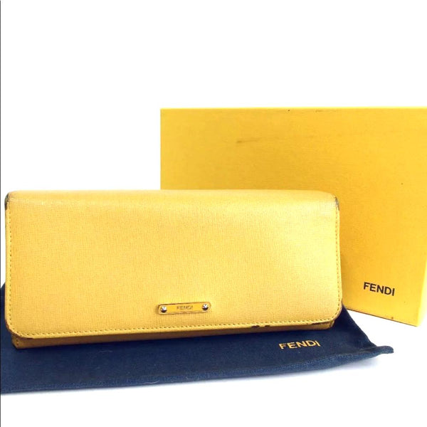 Fendi Leather Yellow Long Wallet