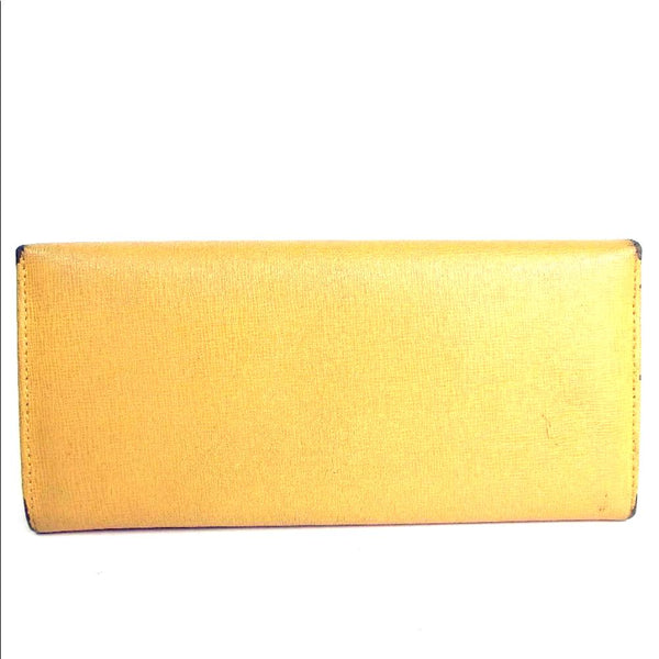 Pre-loved authentic Fendi Leather Yellow Long Wallet sale at jebwa