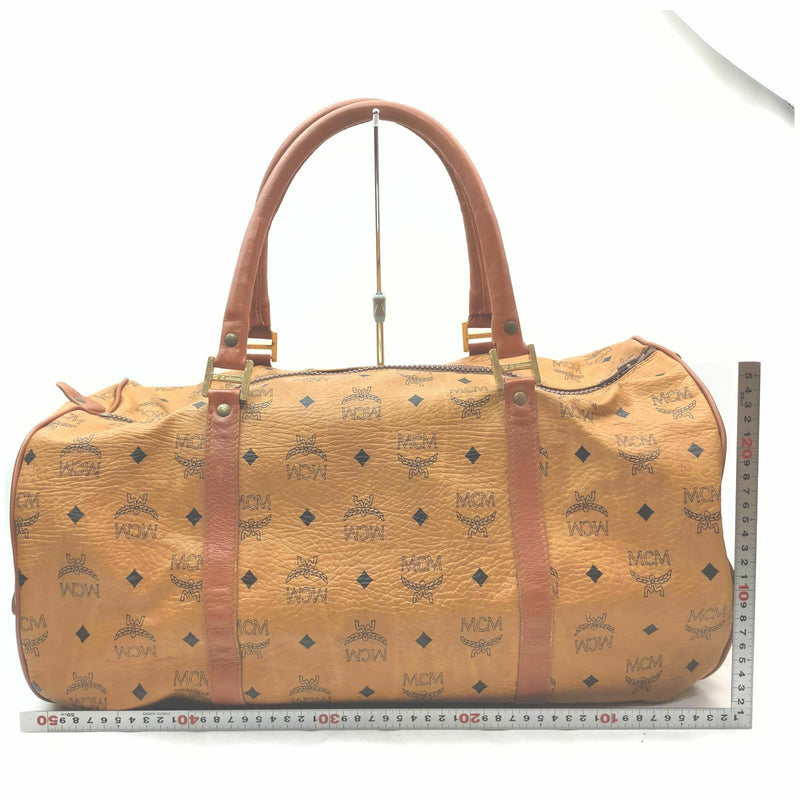 Mcm Travel Bag Brown Coated Canvas