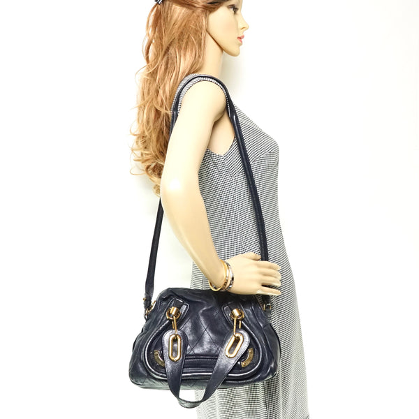 Pre-loved authentic Chloe Paraty Black Leather Shoulder sale at jebwa