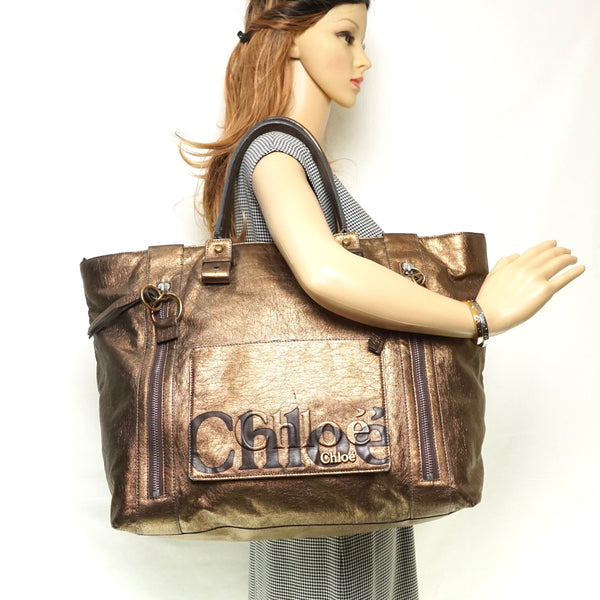 Pre-loved authentic Chloe Eclipse Bronze Tote Shoulder sale at jebwa