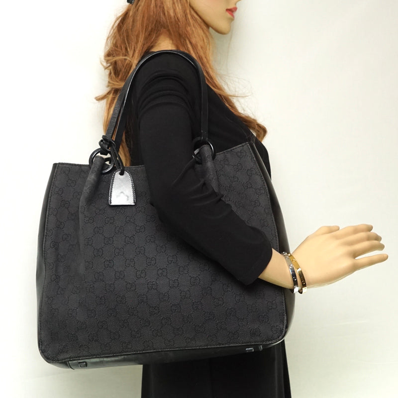 Pre-loved authentic Gucci Tote Bag Black Canvas Wh sale at jebwa