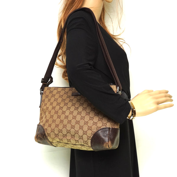 Gucci Gg Crossbody Bag Brown Canvas