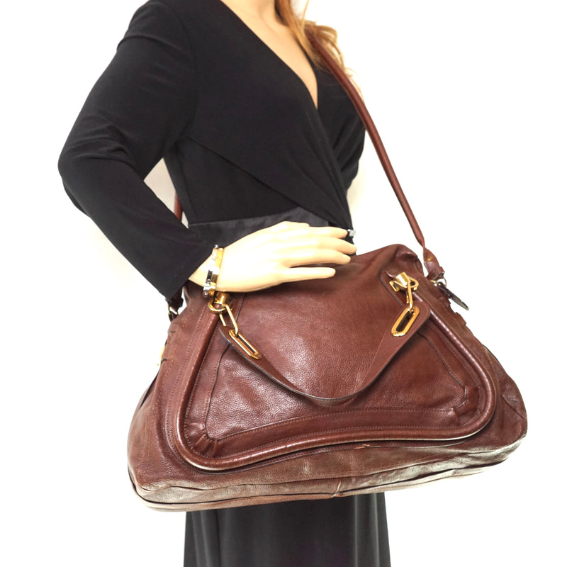 Pre-loved authentic Chloe Hand Bag Leather Brown sale at jebwa