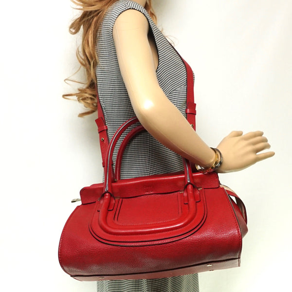Pre-loved authentic Chloe Convertable Satchel Bag Red sale at jebwa