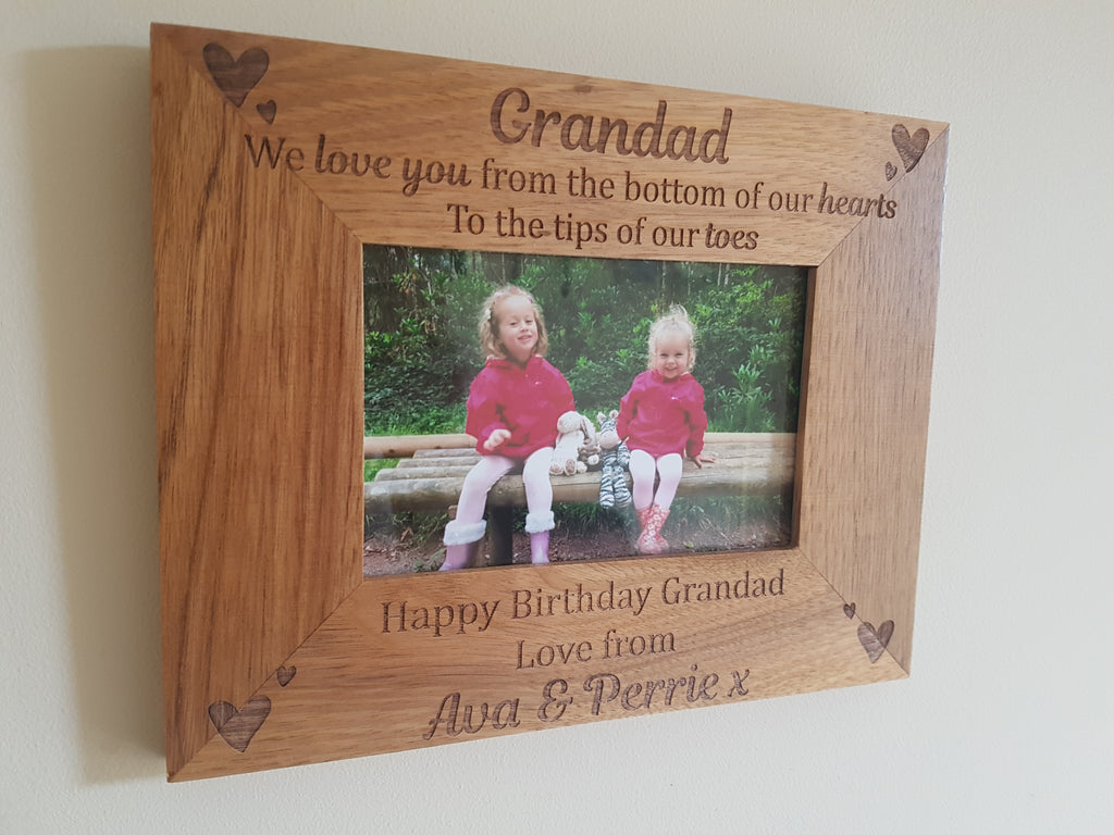 Engraved Wooden Photo Frame - we love you to the tips of our toes ...