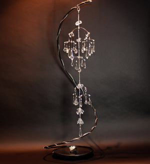 "Kinetic Mobile Sculpture Swarovski Crystal ""Chandelier"" - elementsinmotion"