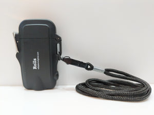 Black Compact Waterproof Plasma Lighter, Flashlight & Lanyard