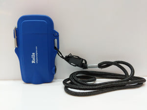 Blue Compact Waterproof Flashlight Plasma Lighter with Lanyard