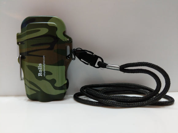 Camo Compact Waterproof Flashlight and Plasma Lighter with Lanyard