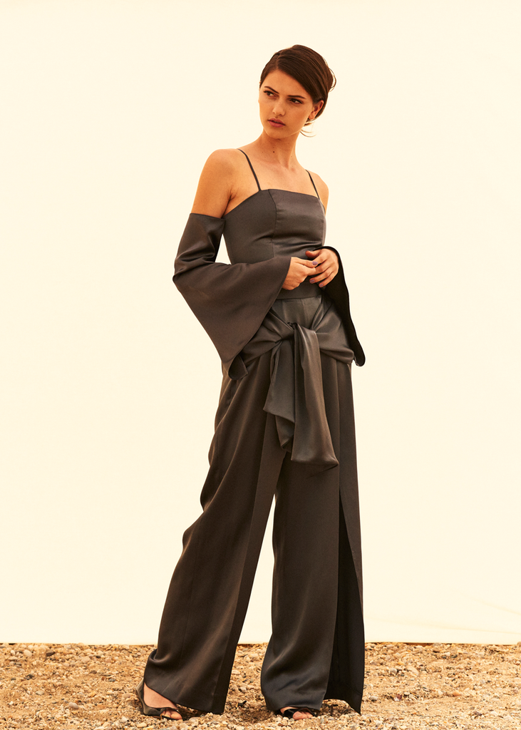Eileen slit pants with wrap ties