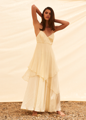 Rose chiffon layer gown