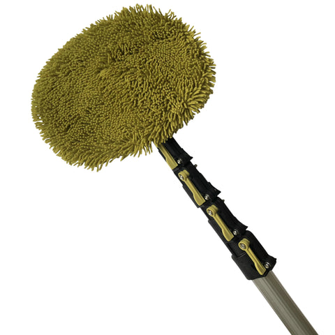 DocaPole 6-24 Foot Wall Duster Extension Pole | Chenille Microfiber Cleaning Head | For Use by Hand or with an Telescopic Pole | High Reach Duster for Walls and High Ceilings | Washable Cleaning Cloth