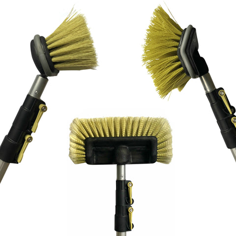 DOCAZOO DocaPole 12 Foot High Reach Brush Kit with 5-12 Foot Extension Pole // Brush Kit Includes 3 Brushes // Soft Bristle Car Wash Brush // Medium Bristle Cleaning Brush // Hard Bristle Deck Brush