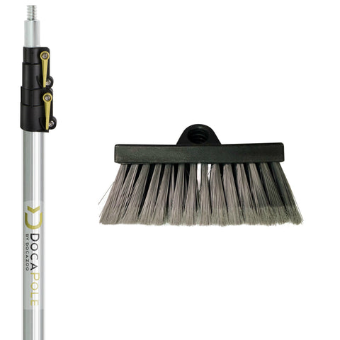 DocaPole Soft Bristle Scrub Brush + 5-12 Foot Extension Pole