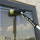 "DocaPole Medium Bristle Deck Brush + 5-12' Extension Pole|11"" Scrub Brush with Telescopic Pole 