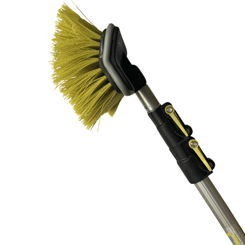 "DocaPole 5-12 Foot Hard Bristle Brush Extension Pole |11"" Scrub Brush with Telescopic Pole 