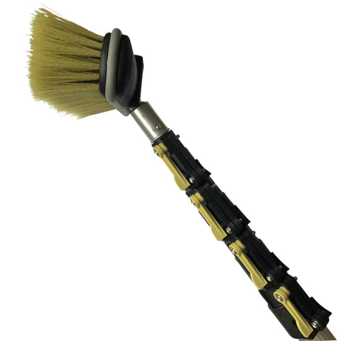 "DocaPole Medium Bristle Deck Brush + 6-24' Extension Pole|11"" Scrub Brush with Telescopic Pole 