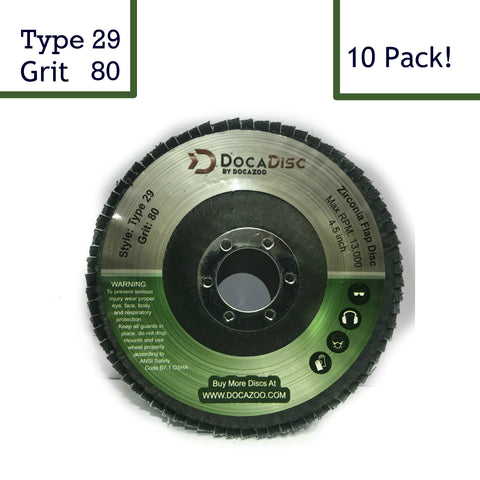 4.5 inch Flap Disc (10 Pack) - 80 Grit Type 29 Professional Grade Zirconia - Abrasive Grinding Wheel