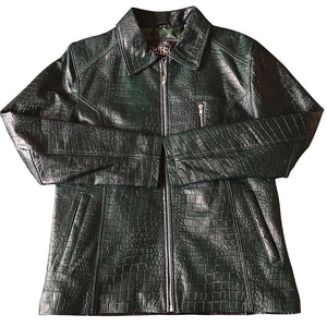 Men's Embossed Crocodile Leather Jacket