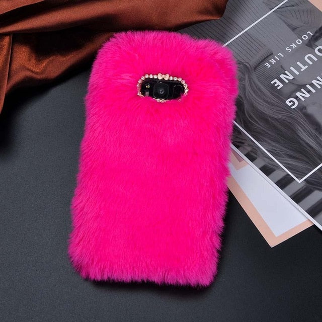 Cute Pink Fur Phone Case For Samsung Galaxy