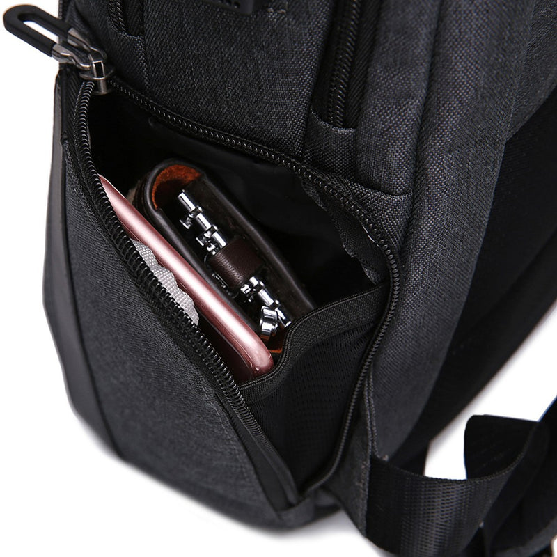 James Bond Anti-theft Travel Backpack (Black) with USB Charging Port