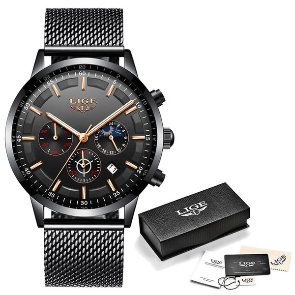 New Black Luxury Men Wristwatch